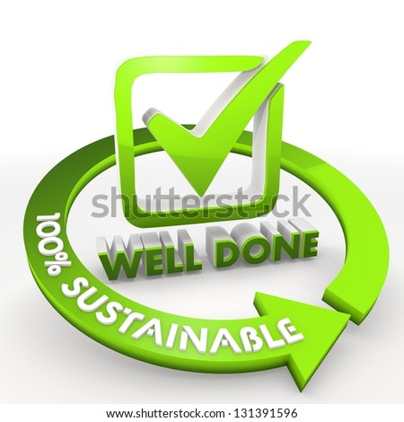3D graphic Bright green 100 percentage sustainable ecological well done Illustration
