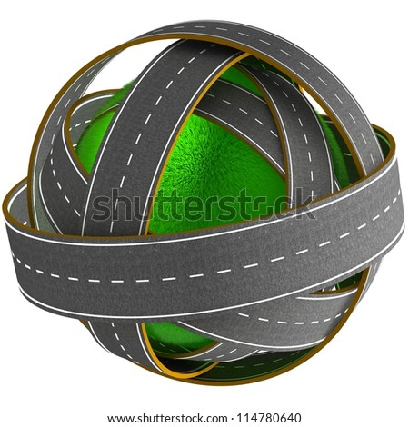 3D grass ball with many roads
