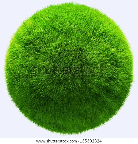 3D grass ball with texture - isolated over a white background
