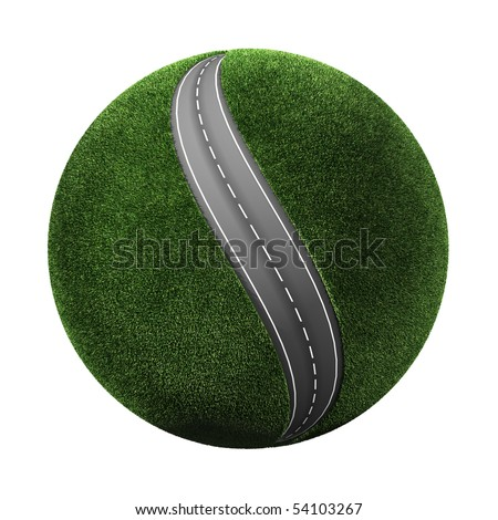 3d grassy planet with road - stock photo