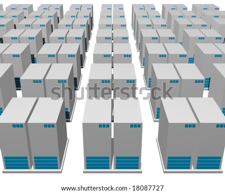 3d gray blue server structure perspective view background
