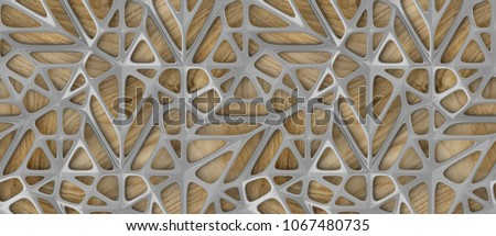 3d gray lattice tiles on wooden oak background. Material wood oak. High quality seamless realistic texture.
