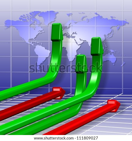 3d green and red arrows going in different directions / Global business charts