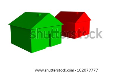 3D green and red house