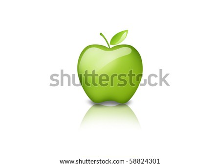 3D green apple isolated on a white background