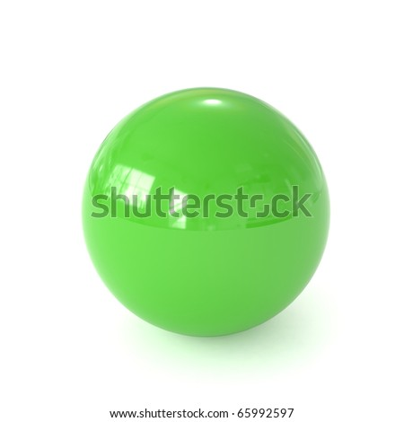 3d green ball isolated on white background