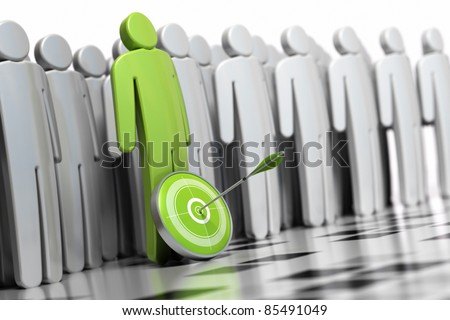 3d green character with a dart in front of his legs with an arrow hitting the center. there is many other grey character at the backside they are blurred