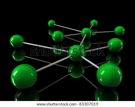 3d green chrome ball network communication black