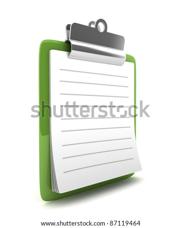 3D Green Clipboard isolated