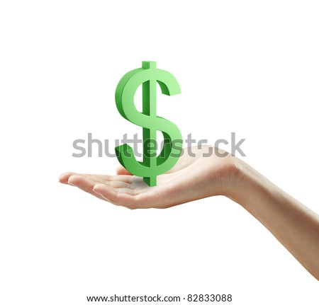 3d Green Dollar Sign on a woman's hand.Isolated on a white background