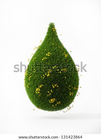 3d green grass drop wit yellow flowers isolaten on white background