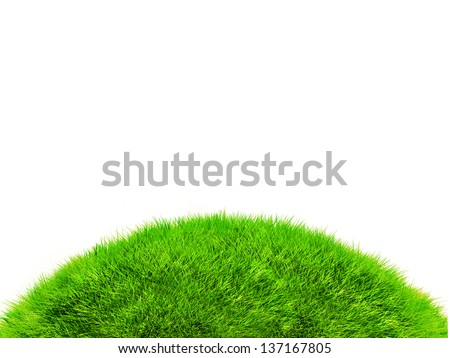 3D green hill of grass - isolated over a white background