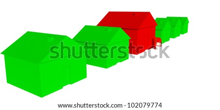 3D Green houses with one red house with sign