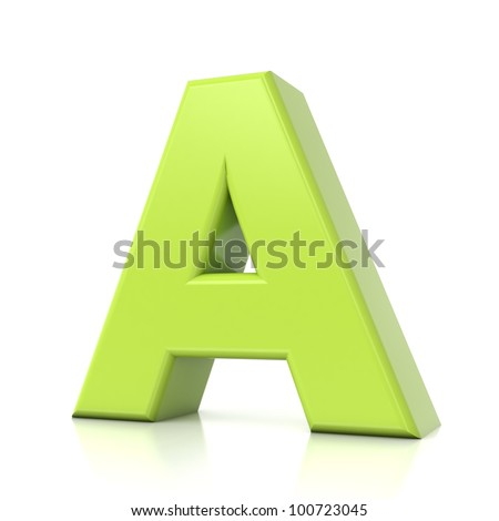 3D green letter collection - A - stock photo