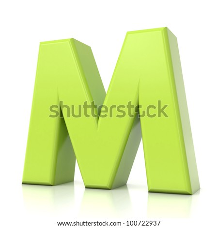 Green Letter m Logo 3d Green Letter Collection m