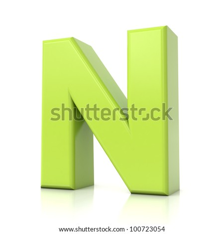 3D green letter collection - N