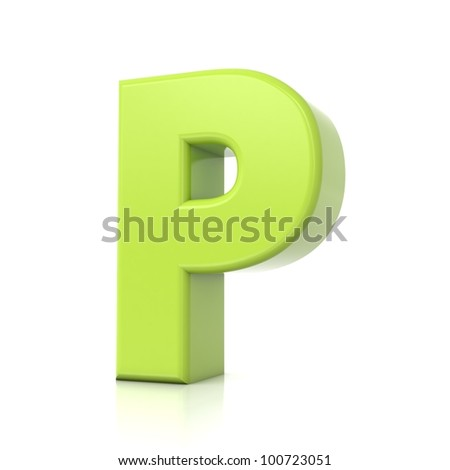 3D green letter collection - P
