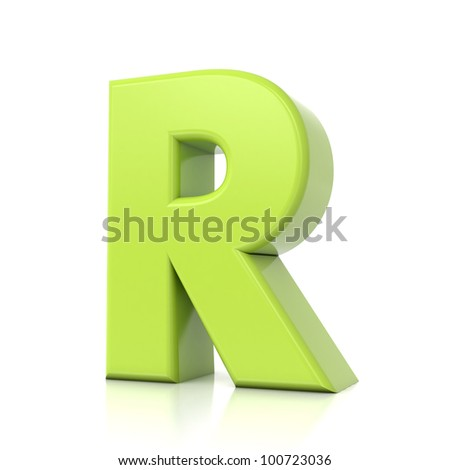 3D green letter collection - R