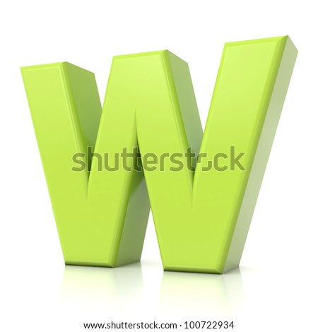 3D green letter collection - W