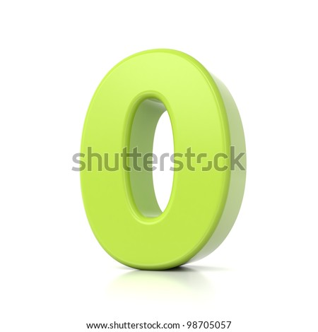 3D green number collection - 0
