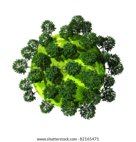 3d green planet full of trees, concept