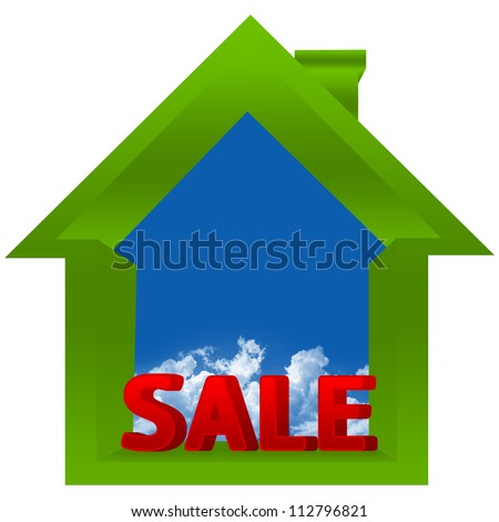 3D Green Real Estate Sign With Sale Word and Clipping Path in Blue Sky Area For Your Own Text Message Isolated On a White Background