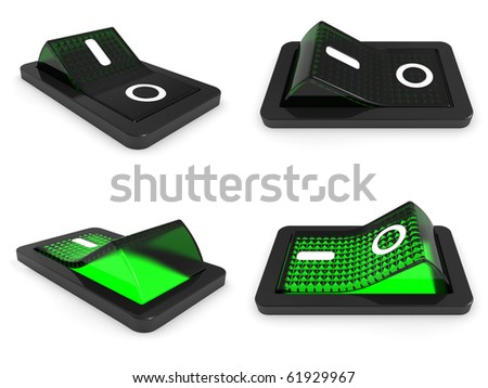 3D Green switch on white background - 3d render
