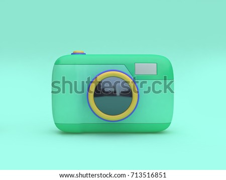 3d green toy camera cartoon style minimal green background 3d rendering