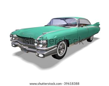 3D green vintage automobile white background