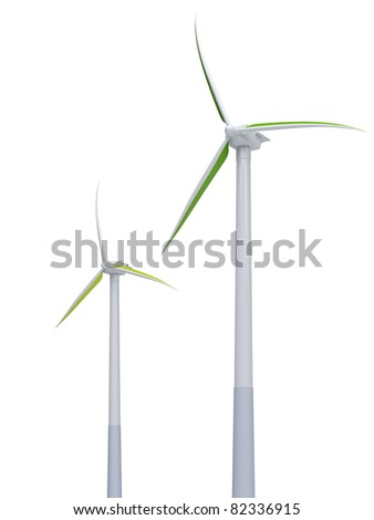 3d green windmills on the white background
