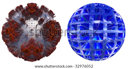 3d grey and brown rusted metal sphere and blue sphere set or collection isolated on white,ideal for 3D symbols or web buttons