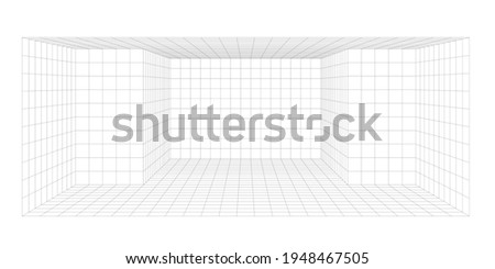 3d grid line for design, blank wire frame template of a large open concept space with walls, ceiling and floor, front view digital illustration isolated on white background. perspective view Сток-фото ©