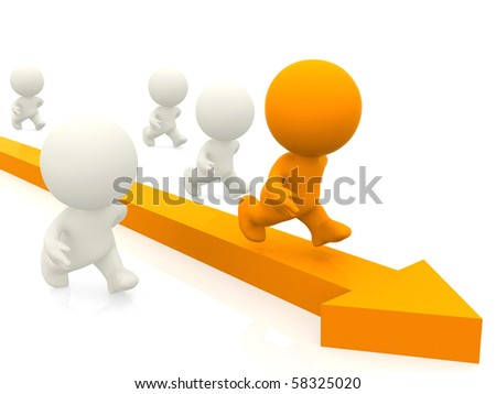 3D group competing with a yellow arrow isolated over a white background