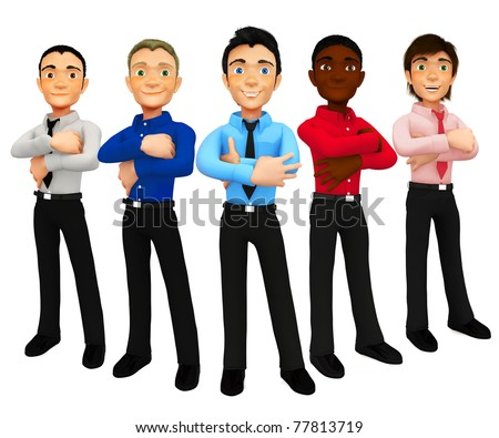 3D group of business men - isolated over a white background