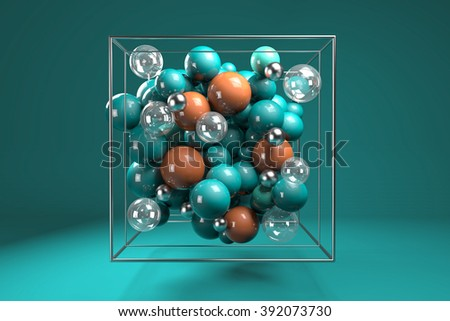 Stock Photo 3d group of colorful glossy spheres in chrome wire cube. Bright turquoise and orange plastic balls with transparent bubbles and metal spheres. Centered composition on turquoise background.