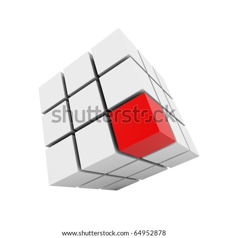 3D group of cubes with red one isolated on white. - stock photo