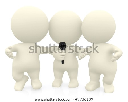 3D group singing karaoke isolated over a white background