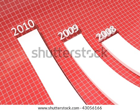 3d growing white chart on red tiled background