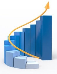 3D Growth bar graph - isolated over a white background