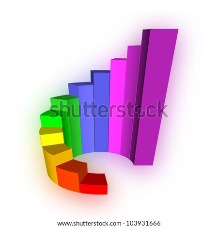 3D Growth bar graph on white