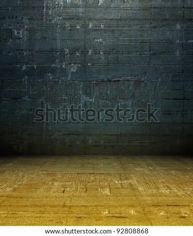 3d grunge concrete wall, blue texture interior