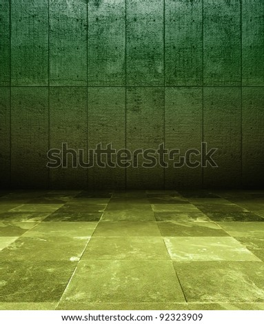3d grunge interior, green rusty wall with old paint