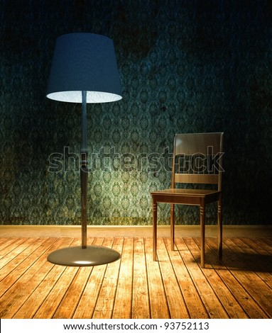 3d grunge wallpaper, blue texture in empty interior with lamp and chair