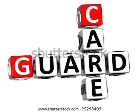 3D Guard Care Crossword over white background