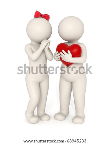 3d guy gives big heart to his girlfriend - Valentine's day concept - Isolated