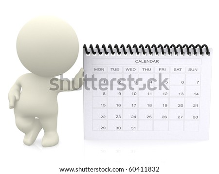 3D guy leaning on a calendar - isolated over a white background