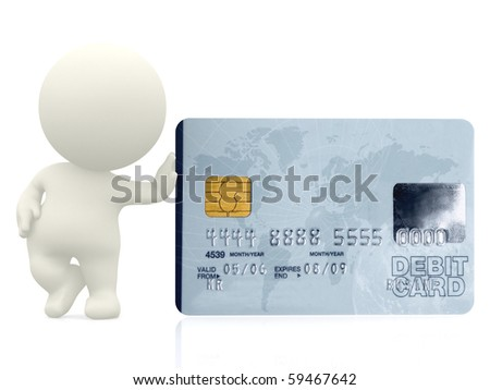 3D guy leaning on a debit card - isolated over a white background