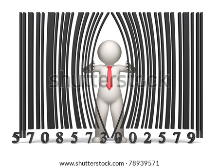 3d guy opening a virtual bar code - Isolated