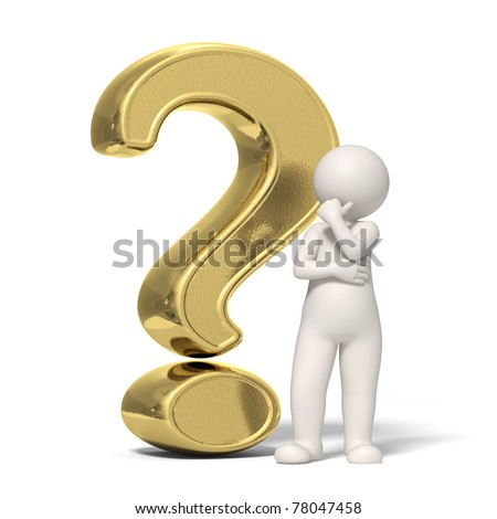 3d guy thinking in front of a big gold question mark - Isolated icon