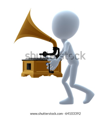 3D guy with a phonograph on a white background
